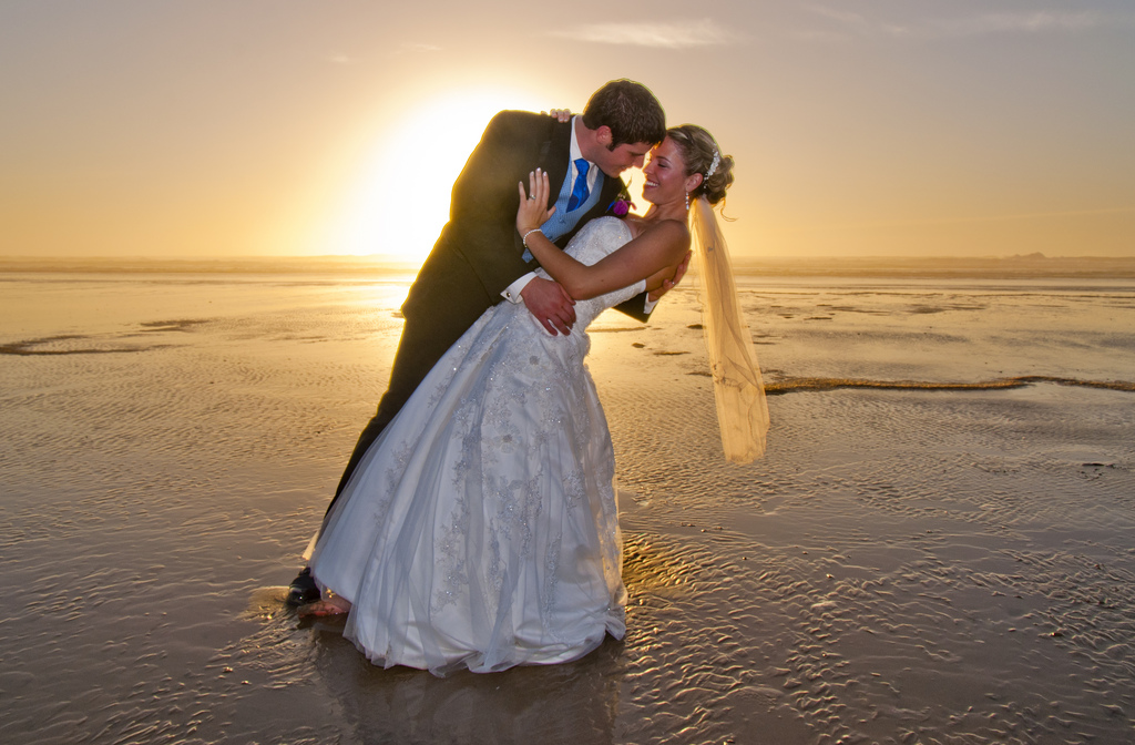 Couple Dancing on Beach in Manzanita after Wedding